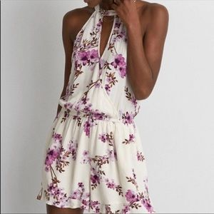 American Eagle White Floral Shorts Romper